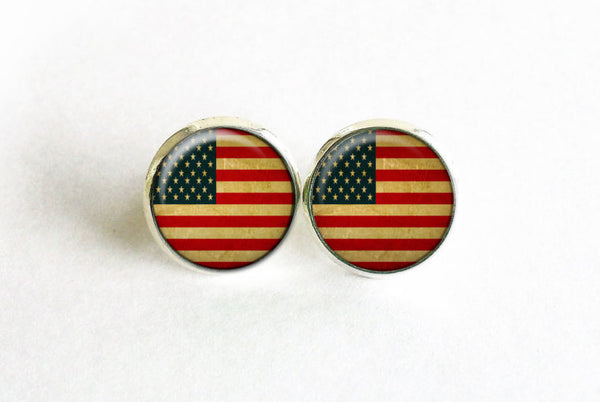 American Flag stud earrings, silver stud earrings, Patriotic earrings, American Flag Jewelry, USA Flag studs, USA Flag earrings, USA studs