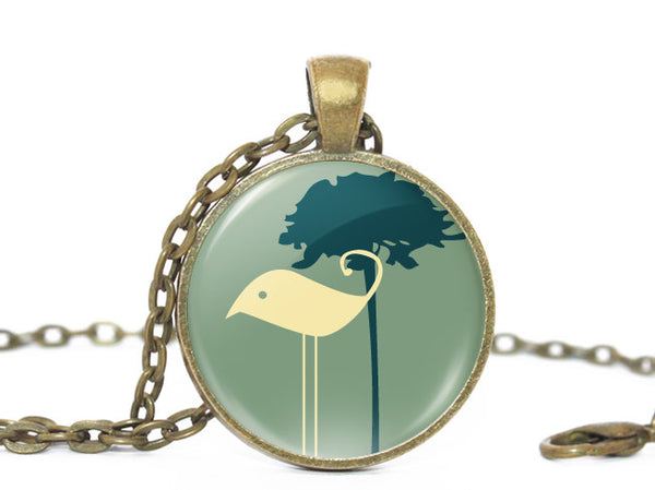 Long Legs Bird necklace, Bird necklace, Bird Pendant, Nature Photo necklace , Birthday Gift,  Teal Beige, Gift for Women,Gift for Girls,