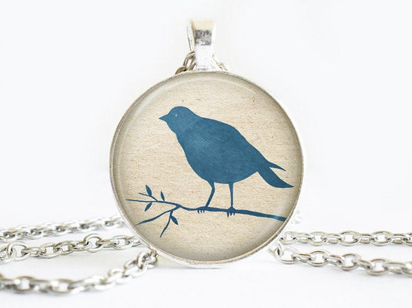 Blue Bird on a branch Necklace, Bird necklace,animal necklace, Bird Art Pendant, Bird pendant, Bird charm, animal charm, gift for women