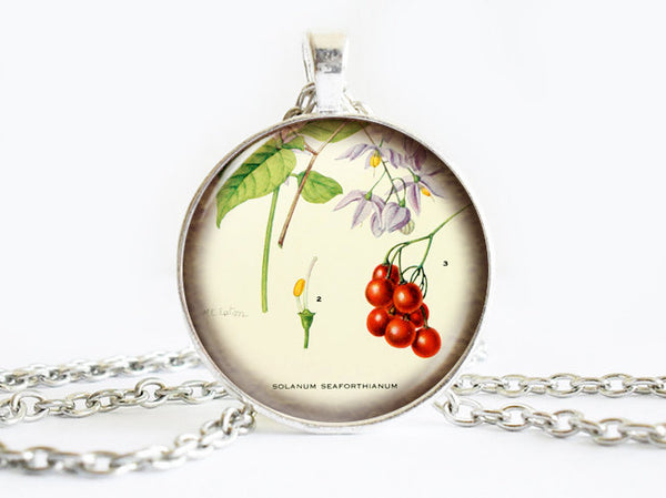 Red Berries Necklace, Purple Flowers necklace,floral necklace, Floral Art Pendant, Red Berries pendant, Fruit charm, gift for women
