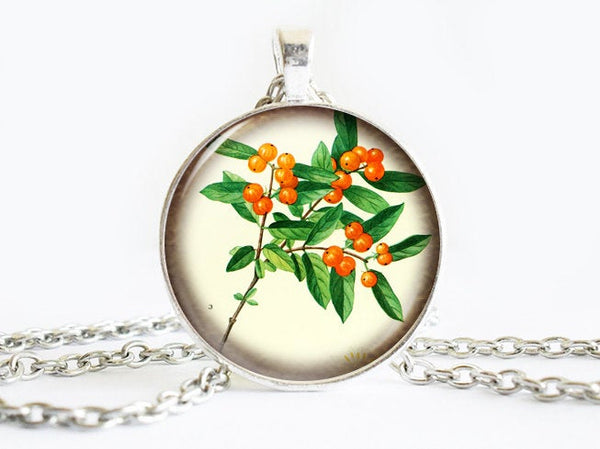 Orange Berries Necklace, Spring Flowers necklace,floral necklace, Floral Art Pendant, Orange Berries pendant, Fruit charm, gift for women