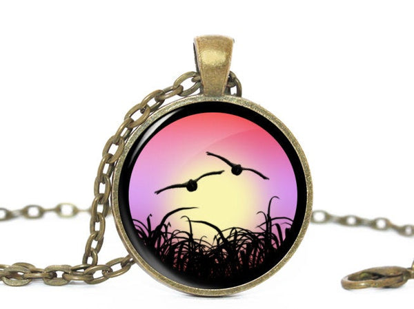 Vintage Flying Birds necklace, Antique vintage pendant, Birds brass vintage charm, Photo Charm, Vintage Charm, Gift for women