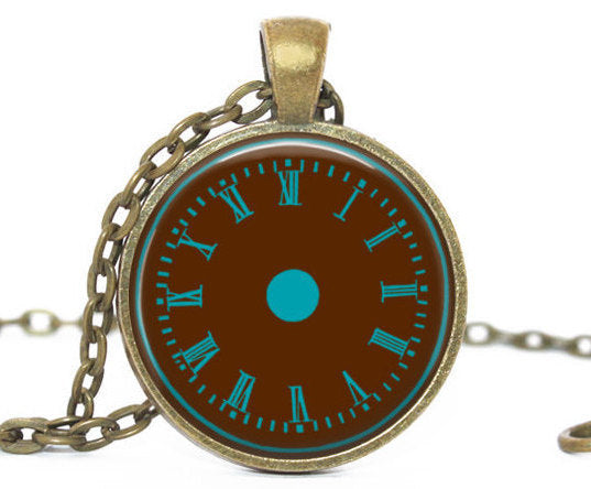 Chocolat Teal Clock Necklace, Brown Blue Clock pendant, Brown blue clock charm,Clock charm, Photo Charm, Vintage Clock Charm, Gift for women