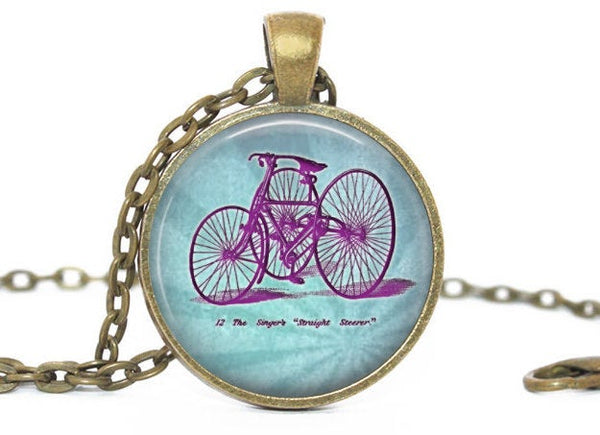 Blue Pink Bike Necklace, Blue Pink Bike pendant, Blue Pink Bike charm, Bike Charm, Bike Pendant, Vintage Bike necklace, Gift for women