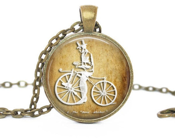Brown White Bike Necklace, Brown White Bike pendant, Brown White Bike charm, Boneshaker necklace, Vintage Bike necklace, Gift for women