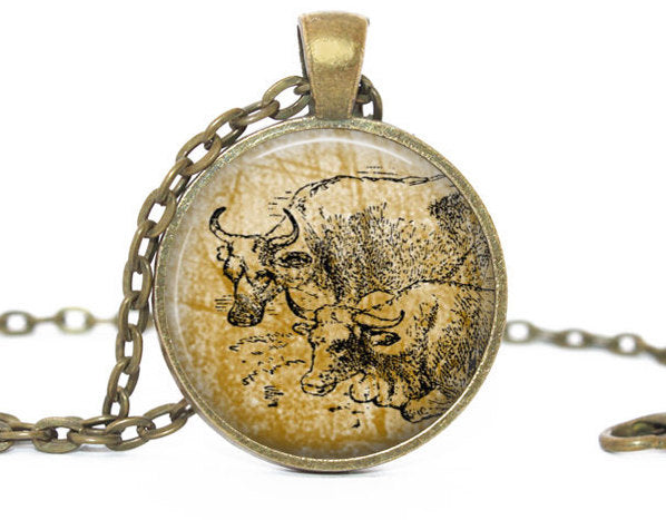 Vintage Bulls necklace, Antique vintage bulls pendant,Bulls brass vintage charm, Photo Charm, Vintage Animal charm, Gift for women