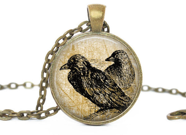 Vintage crows necklace, Antique vintage crows pendant, Crows vintage charm, Photo Charm, Crow necklace, Vintage Animal charm, Gift for women