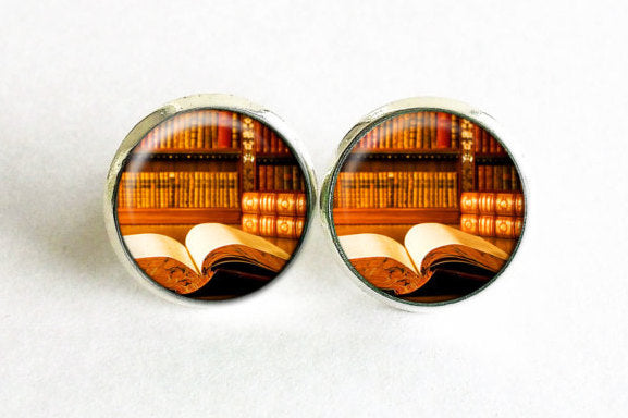 Books Studs, Little books Earrings, Brown Vintage Books post Earrings, Librarian Studs,Book Chick earrings, Book Chick studs, Gift for women