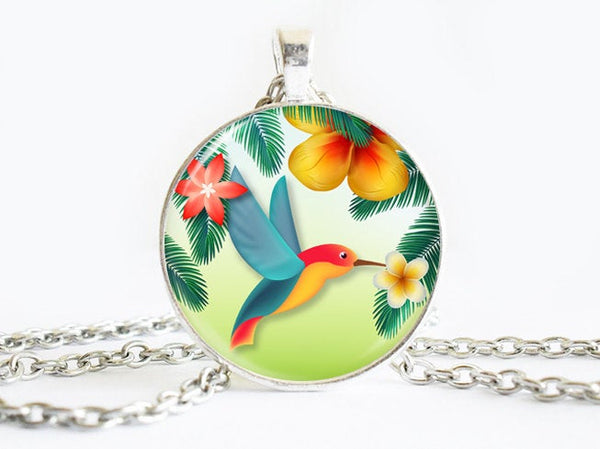 Tropical Bird Necklace, Tropical Bird necklace, Tropical Necklace, Eating Bird Pendant, Yellow Red Blue Green pendant, Flowers necklace
