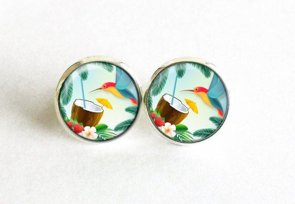 Tropical Bird studs, Tropical Bird earrings, Tropical stud earrings, Coconut stud earrings, Yellow Red Blue Green earrings, Flowers studs