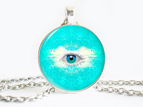 Cyan Blue necklace, Colourful Blue white eye pendant, Cyan Blue pendant, Light Blue necklace, Cyan Blue charm,I am watching you, Eye Pendant
