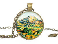 Mountain Landscape Necklace, Landscape Pendant, Green Blue necklace, Landscape Charm, Mountain pendant, Mountain charm, Gift for women