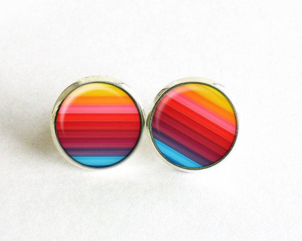 Rainbow Striped Studs, Little Pride Earrings, Gay pride, Lesbian pride, Gay pride Earrings, Lesbian Studs, Rainbow studs, Gay pride jewelry