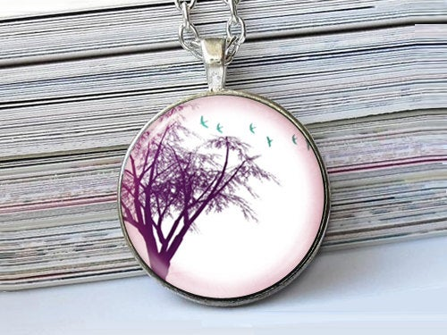 Big Purple Tree necklace, Tree Pendant, Nature Photo Image necklace, Birthday Gift, Purple blue White, Gift for Women, Season Gift