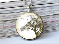 Big Green Tree necklace, Tree Pendant, Nature Photo Image necklace, Birthday Gift, Green White, Gift for Women, Season Gift