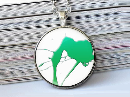 Green Splash Paint necklace, Art Paint Pendant, Art Paint Photo Image necklace, Birthday Gift, Green White, Gift for Women, Paint necklace