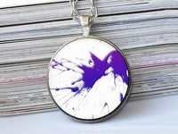 Purple and Blue Splash Paint necklace, Art Paint Pendant, Art Paint Photo Image necklace, Purple Blue White, Gift for Women, Paint necklace