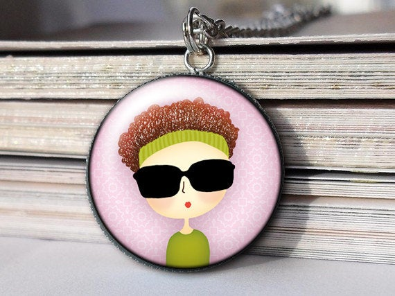 Girl with Sunglasses and a headband, Girl Necklace, Girl Pendant, Art necklace , Black Brown Blue Green, Gift for Women,Gift for Girls