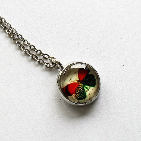 Silver Red with Green Butterfly Necklace, Butterfly charm, Butterfly pendant, Butterfly necklace, Animal Necklace, Glass dome pendant