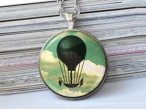 Fantasy Airship necklace, Hot Air Balloon Pendant, Steampunk charm, Vintage Airship Image necklace, Yellow Green Grey, Gift for Women