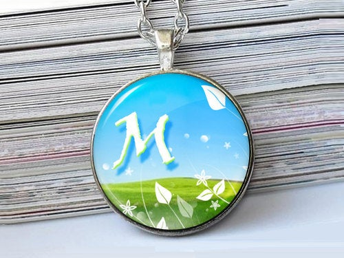 Spring letter necklace, M, Nature Initial Necklace, Blue Green, Glass Art Pendant,Photo charm, Letter Pendant, Letter charm, Initial charm