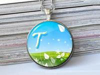 Spring letter necklace, T, Nature Initial Necklace, Blue Green, Glass Art ,Glass dome Pendant, Letter Pendant, Letter charm, Initial charm