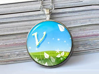 Spring letter necklace, V, Nature Initial Necklace, Blue Green, Glass Art Pendant,Photo charm, Letter Pendant, Letter charm, Initial charm