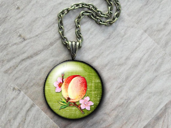 Fruit Peach Necklace, Glass Art Pendant, Photo Pendant, Fruit pendant, Vintage fruit pendant, green pendant, vintage food necklace