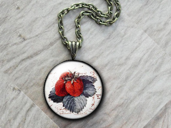Fruit Strawberries Necklace, Glass Art Pendant, Photo Pendant, Fruit pendant, Vintage fruit pendant, white pendant, vintage food necklace