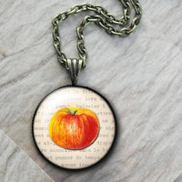 Fruit Red Apple Necklace, Glass Art Pendant, Photo Pendant, Fruit pendant, Vintage fruit pendant, white pendant, vintage food necklace