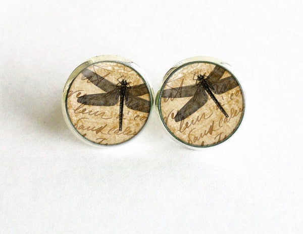 Dragonfly on vintage paper Studs, Little Dragonfly Earrings, Beige post Earrings, Beige Black Studs,Dragonfly earrings, Gift for women