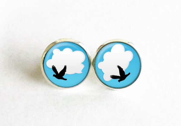 Flying Bird Studs, Little Flying bird Earrings, Deep Sky blue post Earrings, Deep Sky Blue White Studs,Dragonfly earrings, Gift for women