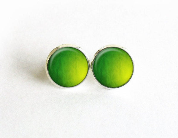 Green and Yellow Studs, Little Abstract Digital art Earrings, Green abstract art post Earrings, Green Yellow Studs,Art studs, Gift for women