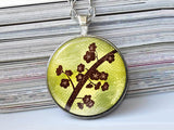 Brown Flowers Necklace, Tree with Flowers necklace,floral necklace, Floral Art Pendant, Flowers pendant, FlowerS charm, gift for women