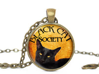 Halloween Cat necklace, Black Cat Society Pendant, Black Cat pendant, Orange necklace, Black cat charm, Black Orange Charm, Halloween charm
