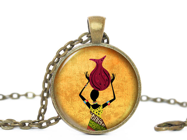 African Woman with Basket Yellow Pendant Necklace