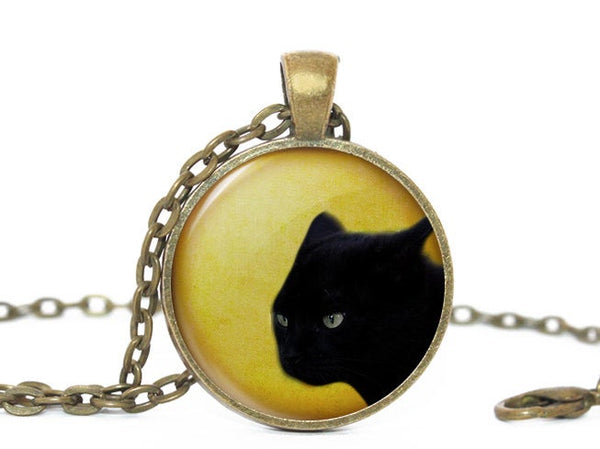 Halloween Cat necklace, Black Cat Pendant, Black Cat pendant, Orange necklace,Cat Head, Black cat charm, Black Orange Charm, Halloween charm