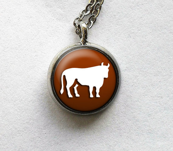 Taurus Necklace, Taurus Pendant, Astro Zodiac Charm, Astro Jewelry, Taurus Jewelry, Zodiac Glass Pendant Necklace, Glass Art Pendant