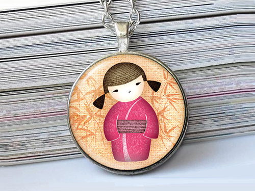 Girl in pink kimono dress, Girl Necklace, Girl Pendant, Asian girl pendant, Art necklace , Pink orange, Gift for Women,Gift for Girls