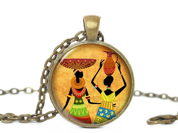 African Women Necklace, Africa Pendant, Afican Women with Basket pendant, Yellow necklace, Africa necklace , Black women, Gift for Women