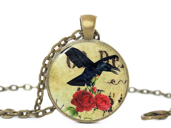 Halloween crow necklace, Beige pendant, Crow charm, Red Roses Charm, Crow necklace, Halloween charm, Gift for all, Crow Pendant, Black Bird