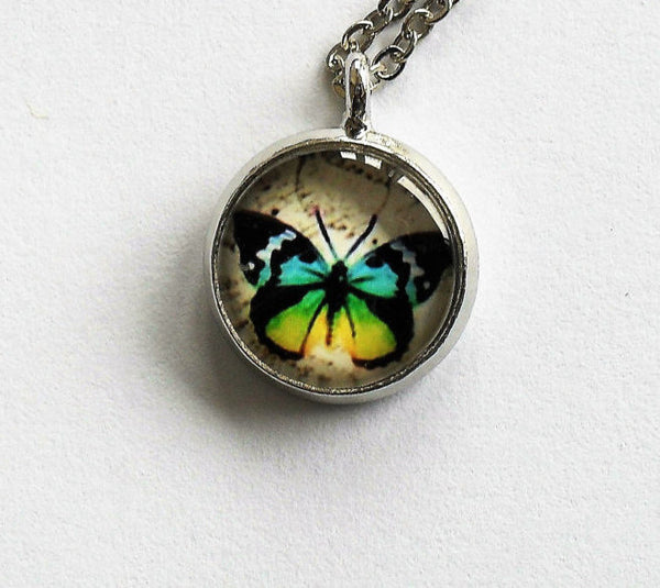 Silver Blue with Yellow Butterfly Necklace, Butterfly charm, Butterfly pendant, Butterfly necklace, Animal Necklace, Glass dome pendant