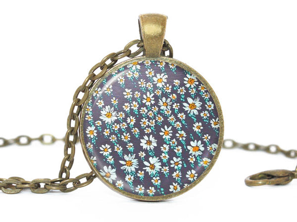 Summer flowers necklace, Daisies bronze pendant, Daizy Bronze Charm, Blue Floral Pendant, Blue white Necklace, Flower Pendant, Flower charm
