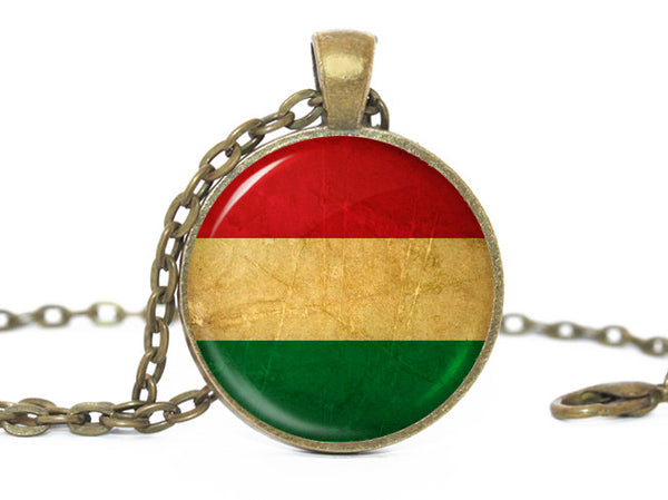 Hungary Flag Pendant Necklace, Bronze Pendant, Patriotic Jewelry, Hungarian Flag Jewelry, Hungary Pendant, Hungary Flag Necklace