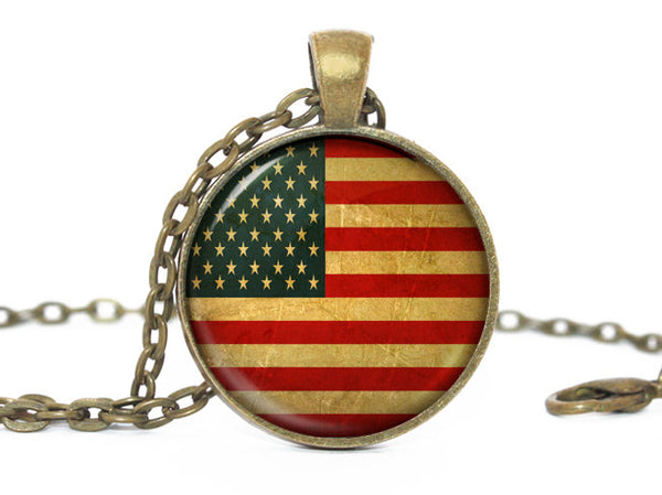 American Flag Pendant Necklace, Bronze Pendant, Patriotic Jewelry, American Flag Jewelry, USA Flag Pendant, USA Flag Necklace, USA Charm