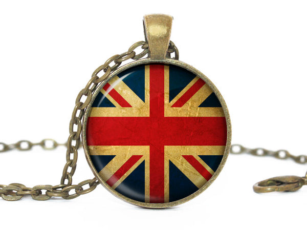 Great Britain Flag Pendant Necklace, Bronze Pendant, Patriotic Jewelry, United Kingdom Flag Jewelry, UK Pendant, UK Flag Necklace, UK Charm