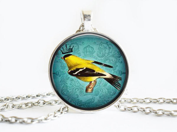 Yellow Crowned Bird on a branch Necklace, Bird necklace,animal necklace, Bird Art Pendant, Bird pendant, Blue pendant, gift for women