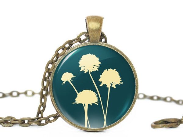 Dandelions necklace, Four Dandelions necklace, Flower Pendant, Nature Photo necklace , Birthday Gift,  Teal Blue Beige, Gift for Women,