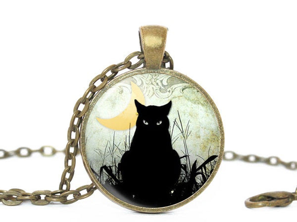 Crescent moon necklace, Black Cat Necklace, Black Cat Halloween Pendant, Light Blue Necklace, River Plants Necklce, Halloween Cat Pendant
