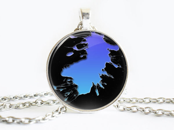 Light and Dark Blue Splash Paint necklace, Art Paint Pendant, Art Paint Photo Image necklace, Blue Black, Gift for Women, Paint necklace